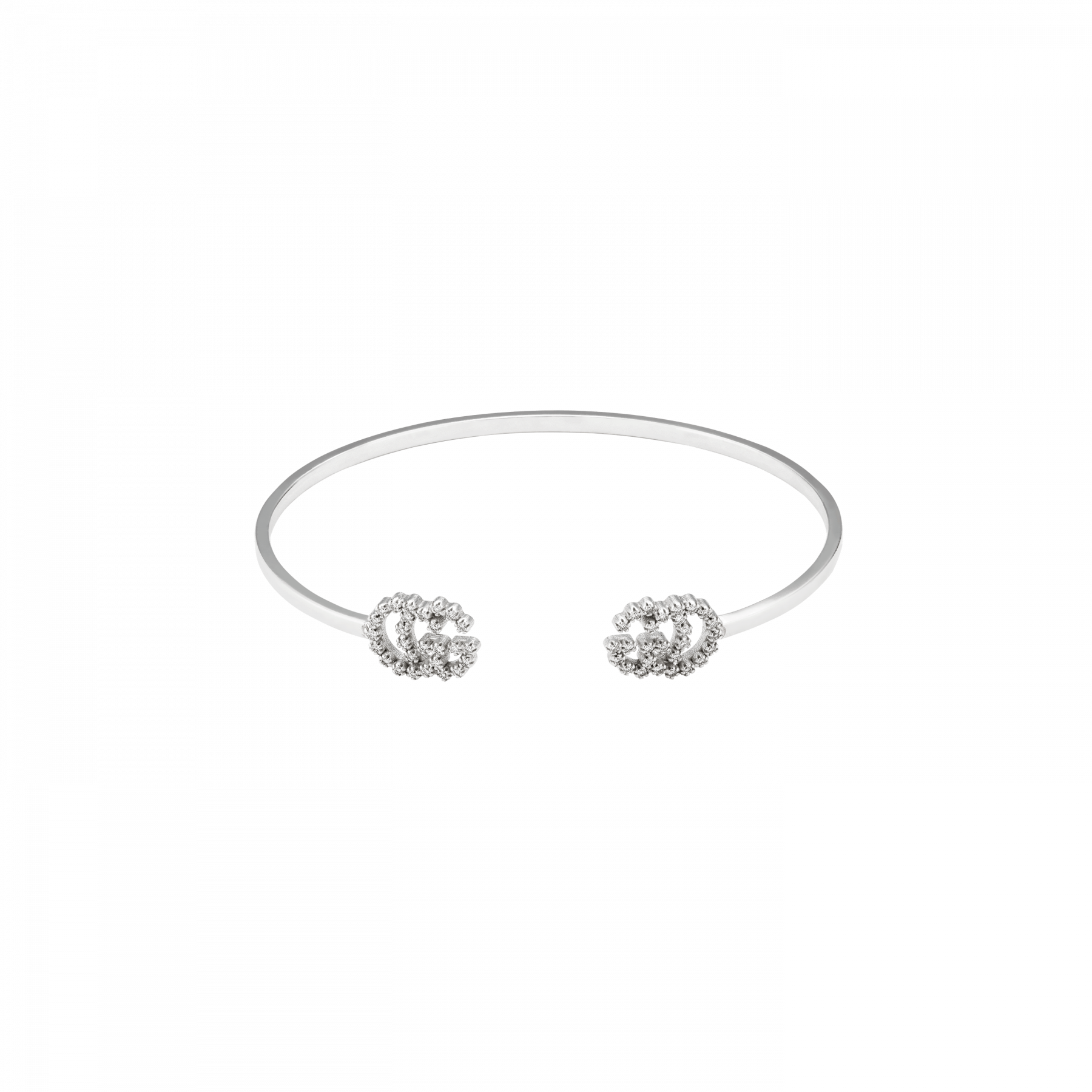Gucci GG Running Diamond Cuff Bracelet in 18K White Gold main view