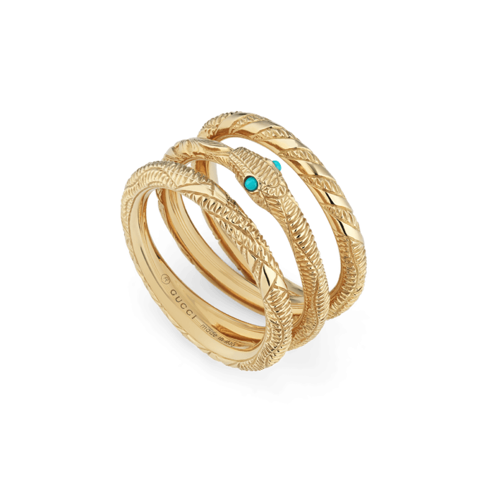 de2f22c83 Gucci Ourobos Triple Band 18K Gold and Turquoise Snake Ring