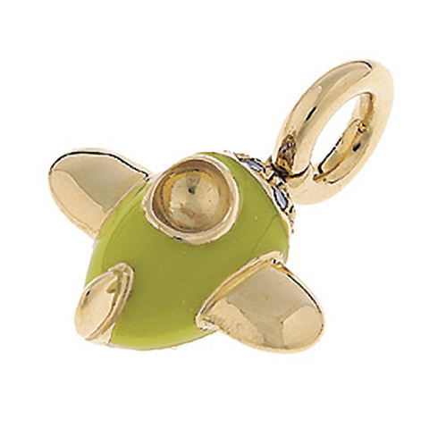 Aaron Basha Airplane 18kt Yellow Gold Charm