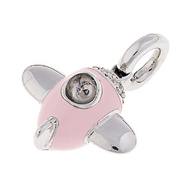 Aaron Basha Airplane Pink Diamond White Gold Charm