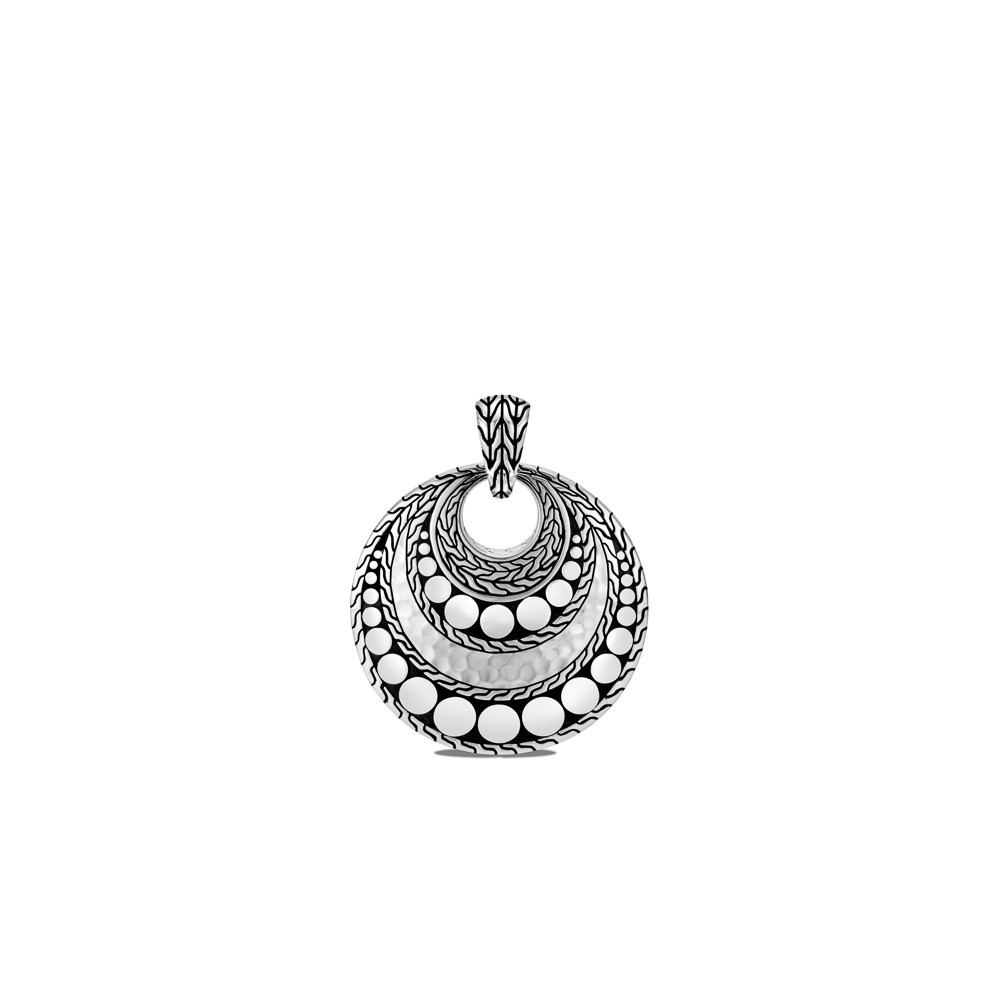 John Hardy Dot Hammered Pendant in Sterling Silver back view