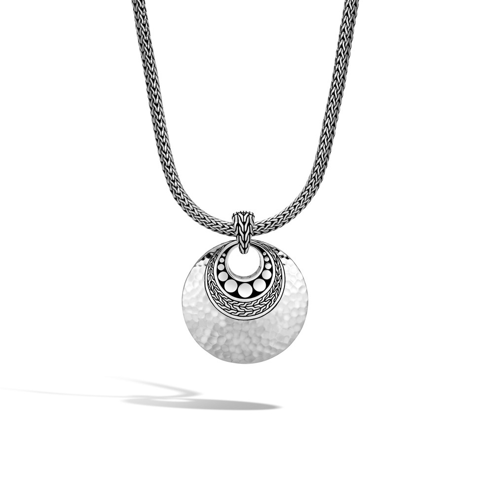 John Hardy Dot Hammered Pendant in Sterling Silver on chain