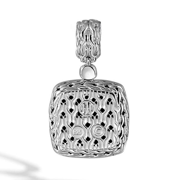 John Hardy Classic Chain Medium Square Black Sapphire Pendant Back View