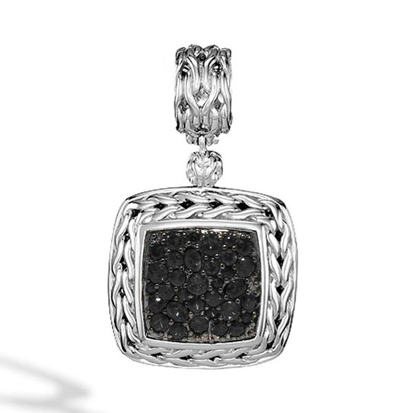 John Hardy Classic Chain Medium Square Black Sapphire Pendant