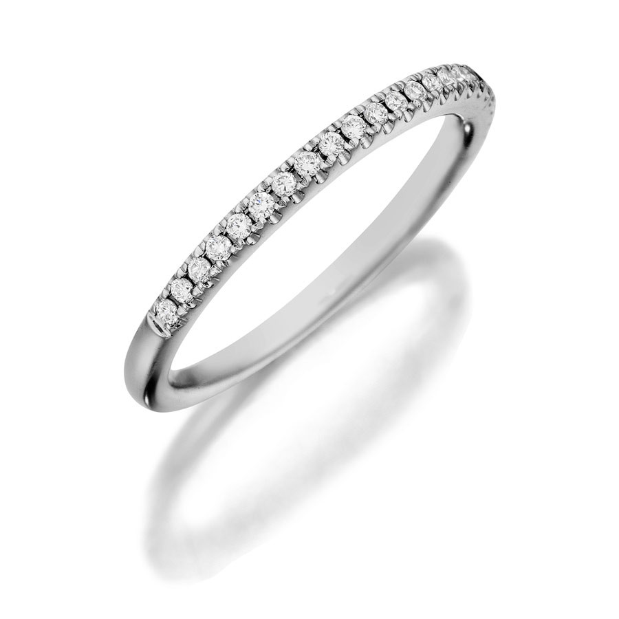 Henri Daussi White Gold Diamond Half Way Wedding R1-1 Band Angle View