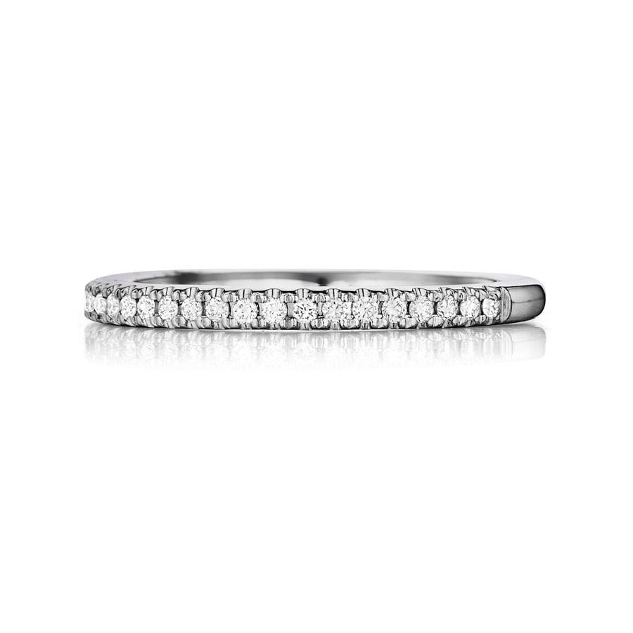 Henri Daussi White Gold Diamond Half Way Wedding R1-1 Band Top View