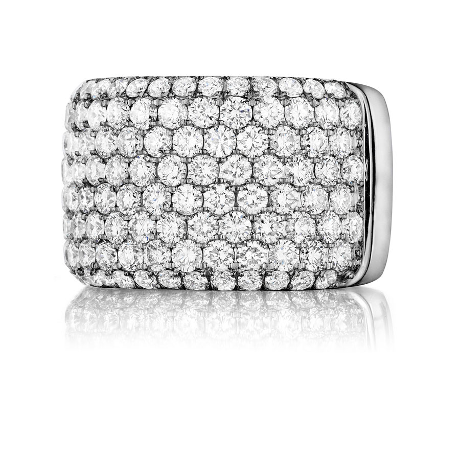 Henri Daussi White Gold Row Diamond Wide Band R20 Ring Top View
