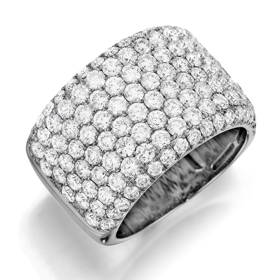 Henri Daussi White Gold Row Diamond Wide Band R20 Ring Angle View