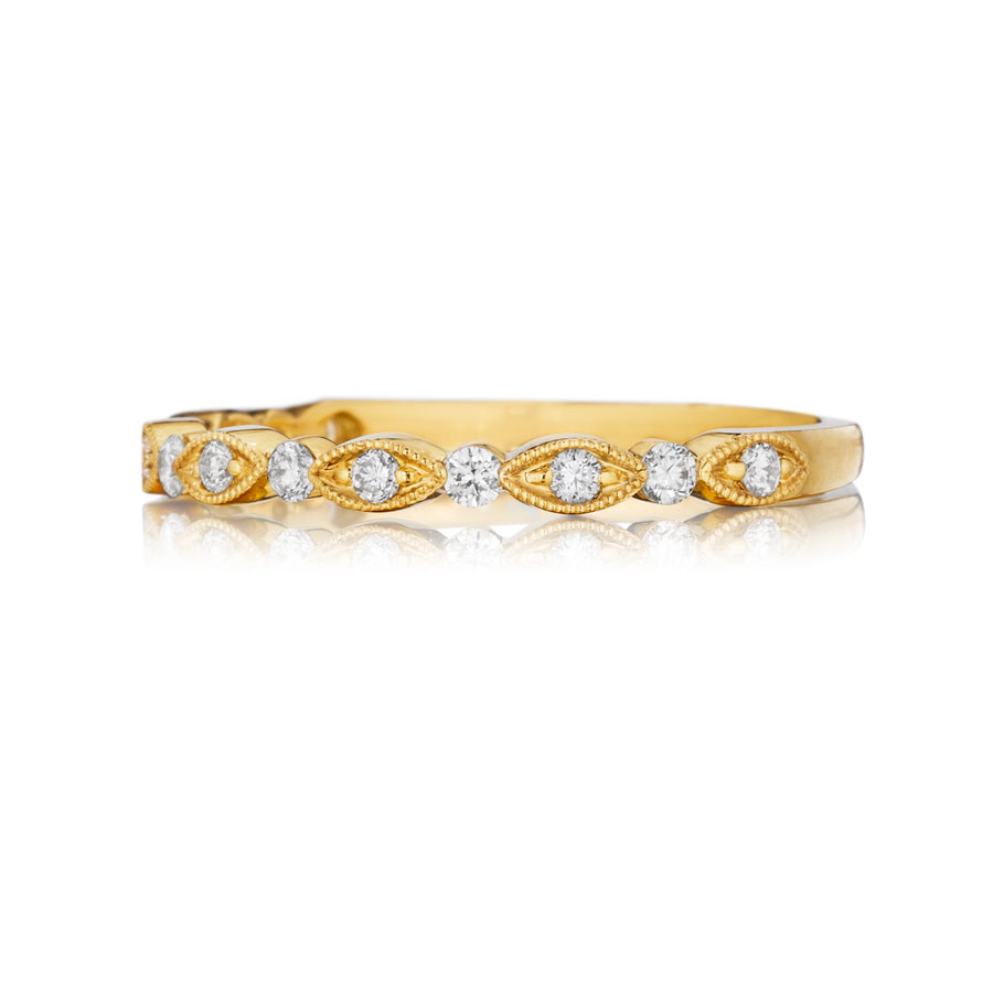 Henri Daussi Yellow Gold Diamond Milgrain Wedding R26-3 Band Top View