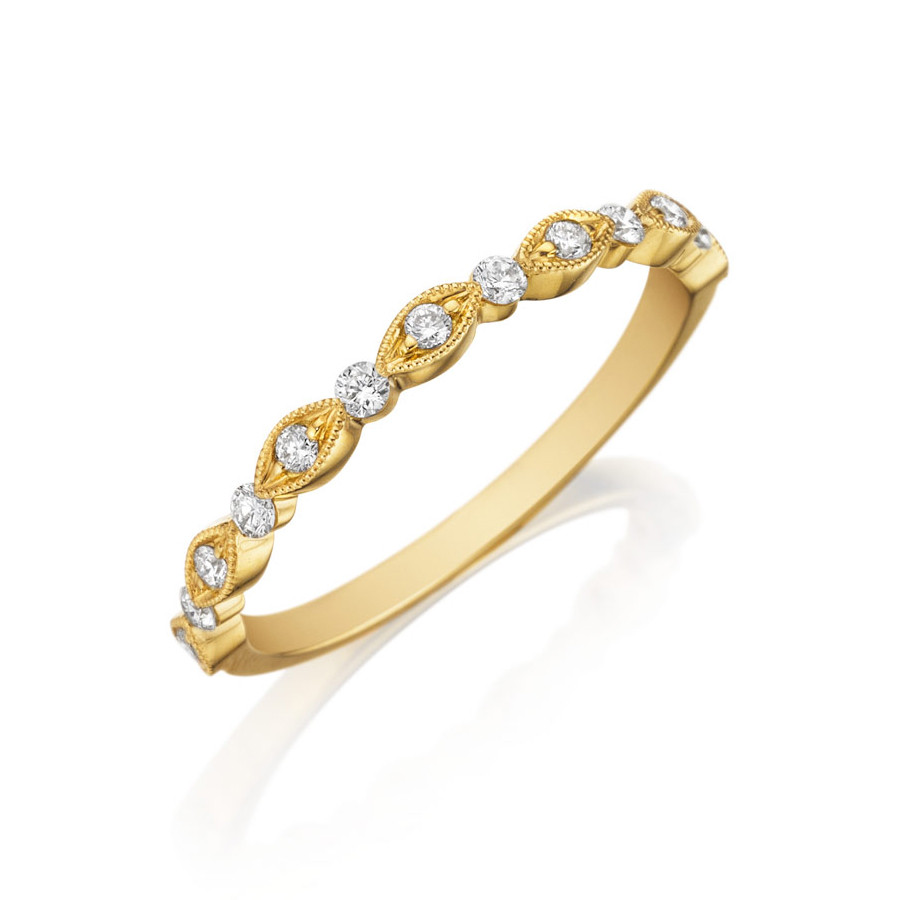 Henri Daussi Yellow Gold Diamond Milgrain Wedding R26-3 Band Angle View