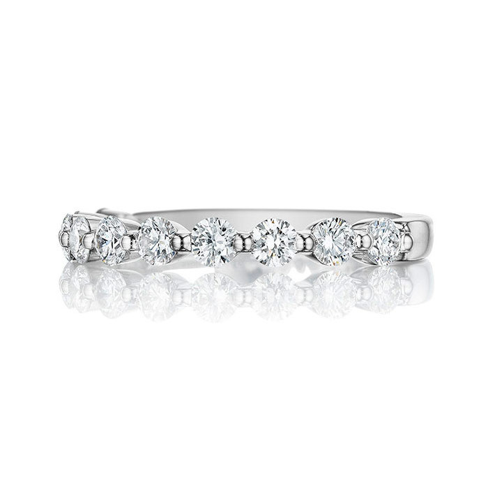 Henri Daussi White Gold Shared Prong Diamond Band R32 Ring Top View