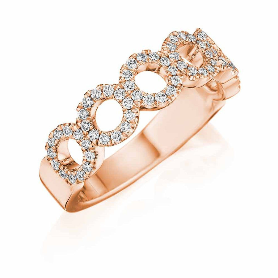 Henri Daussi Rose Gold Open Circle Diamond Band R33-2 Ring Angle View