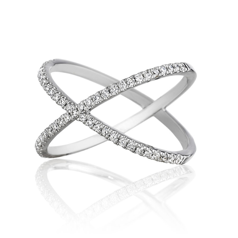 Henri Daussi White Gold Criss Cross Diamond R38-1 Ring Angle View