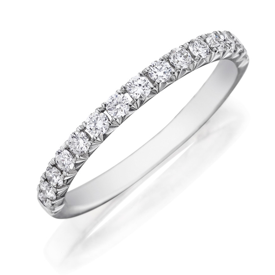 Henri Daussi WBSR White Gold Pave Diamond Wedding Band side