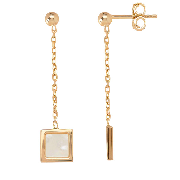Honora Yellow Gold Mother of Pearl Slice Square Chain Drop Earrings