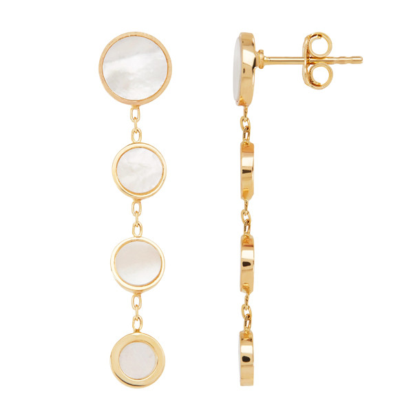 Honora Yellow Gold Mother of Pearl Slice Circle Triple Drop Earrings