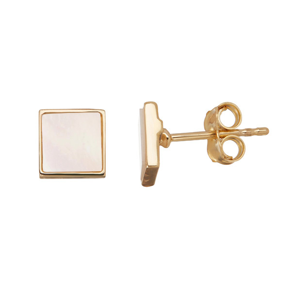 Honora Yellow Gold Mother of Pearl Slice Square Stud Earrings