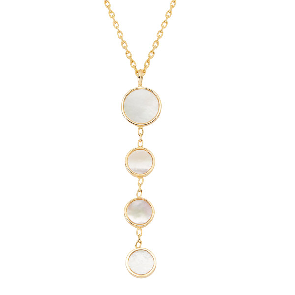 Honora Yellow Gold Mother of Pearl Slice Circle Triple Lariat Necklace