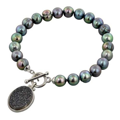 Honora Sterling Silver Black Ringed Pearl with Black Agate Druzy Toggle Bracelet