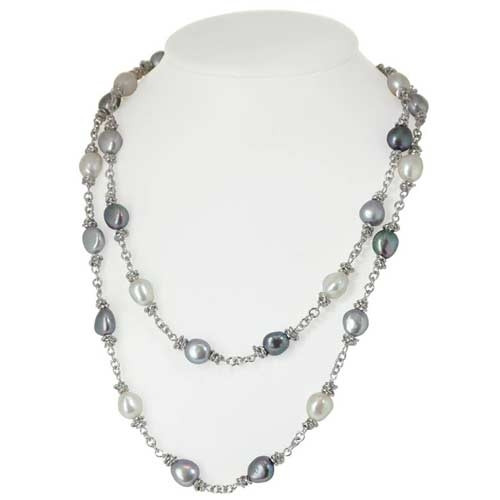 Honora Sterling Silver Necklace With Black White Gray Freshwater Pearls