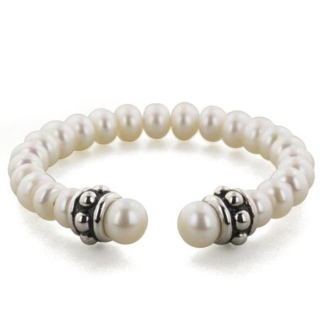 Honora Girls Sterling Silver White Pearl Collar Stud Cuff Bracelet