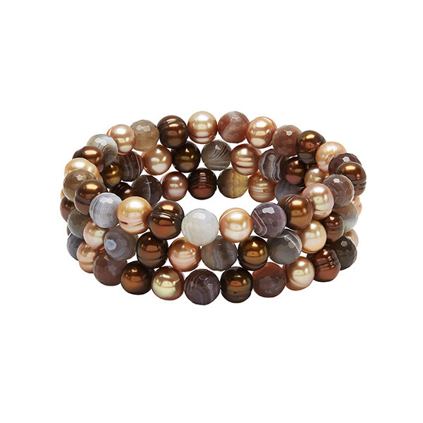 Honora Botswana Agate Three Strand Chocolate Pearl Bracelet