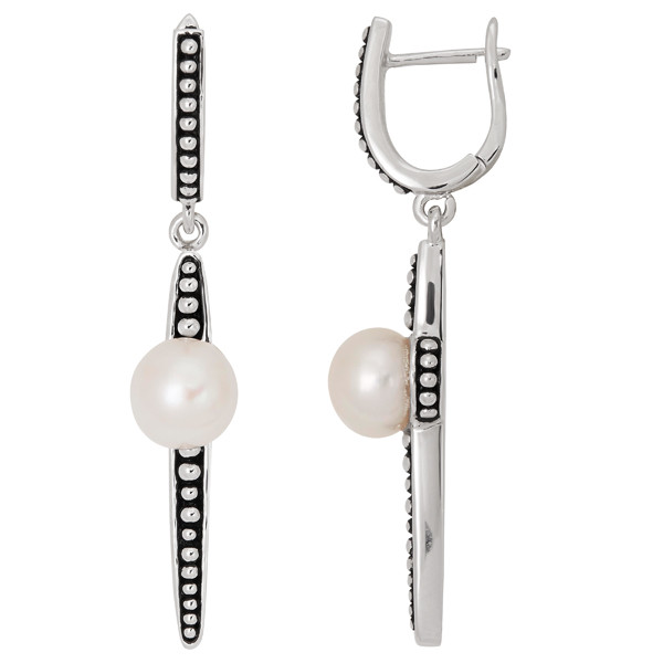 Honora Sterling Silver White Button Pearl Dagger Earrings