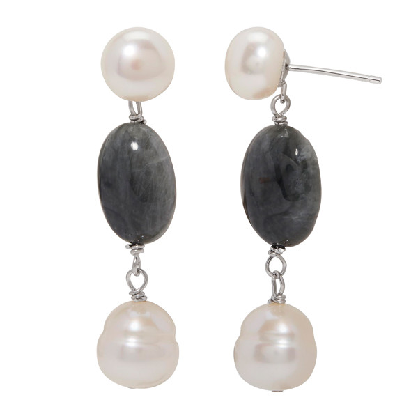 Honora Sterling Silver Cultured Pearl Stone Earrings