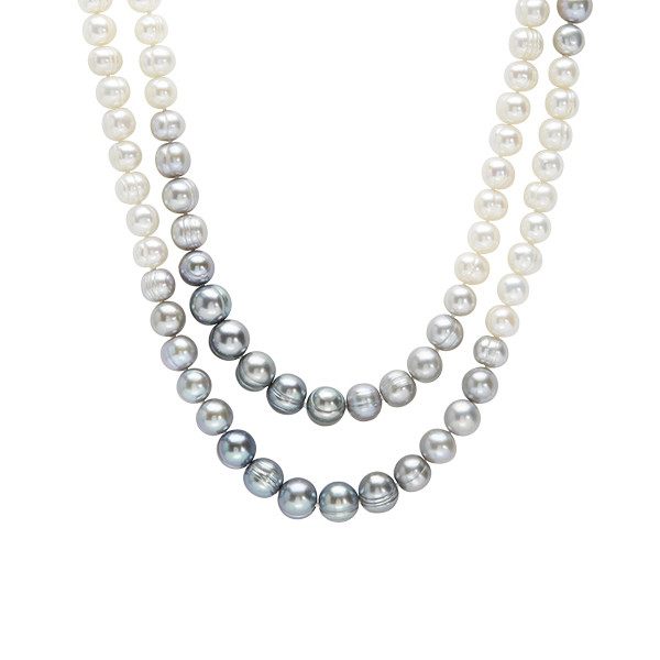 """Honora Ombre Grey to White 36"""" Pearl Strand"""