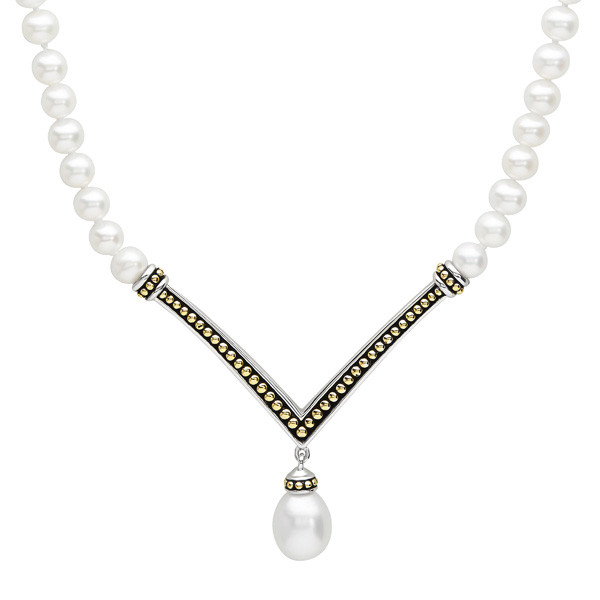 Honora Sterling Silver & Yellow Gold White Oval Pearl Necklace
