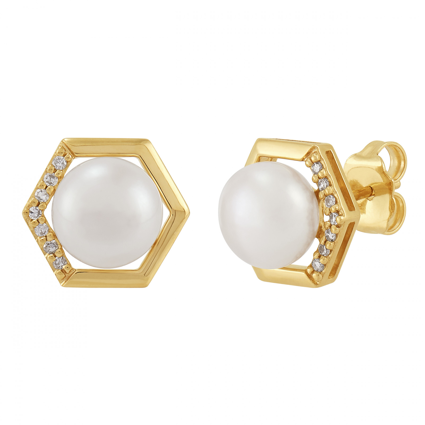 Honora Diamond and Pearl Studs in 14K Gold