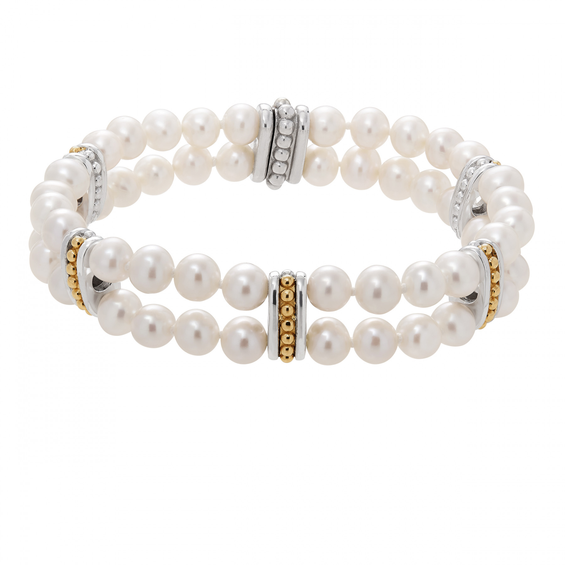 Honora Pearl Two Row Gold and Silver Station Bracelet