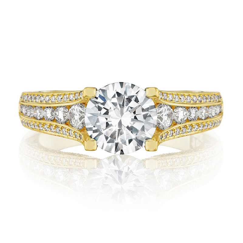 Tacori HT2513RD65-12X-Y Yellow Gold Channel Set Engagement Classic Crescent Ring Top View