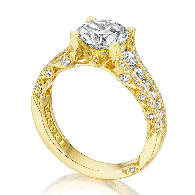 Tacori HT2513RD65-12X-Y Yellow Gold Channel Set Engagement Classic Crescent Ring Edge View