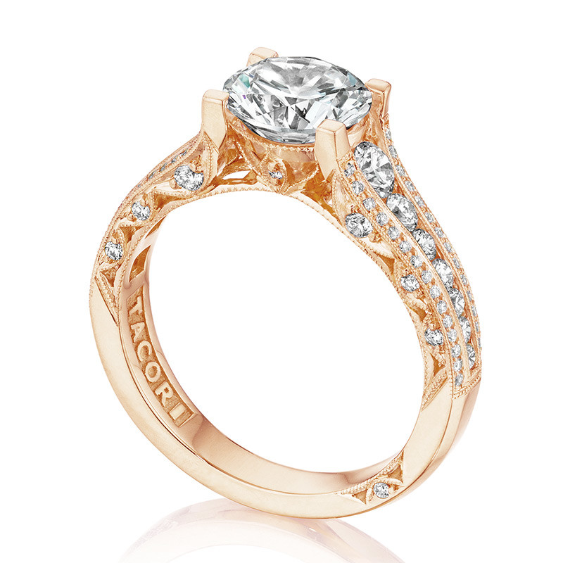 Tacori HT2513RD65-12X-PK Rose Gold Channel Set Engagement Classic Crescent Ring Angle View