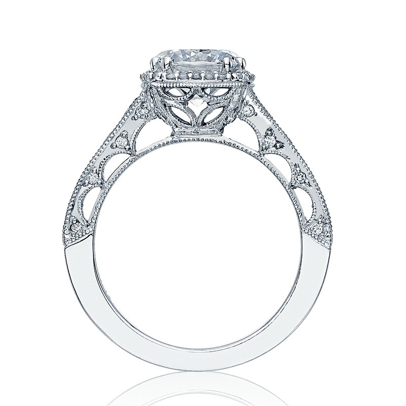 Tacori HT2515RD65-12X Tapered White Gold Engagement Reverse Crescent Ring Edge View