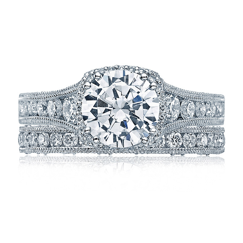 Tacori HT2515RD55-12X Tapered White Gold Reverse Crescent Engagement Ring with Band