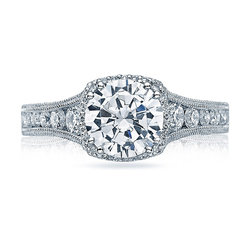Tacori HT2515RD6-12X Tapered Platinum Engagement Reverse Crescent Ring Top View