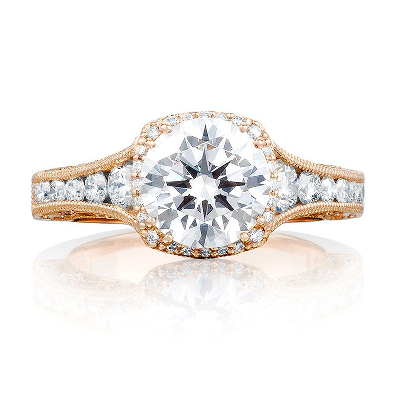 Tacori HT2515RD7-12X Tapered Rose Gold Engagement Reverse Crescent Ring Top View