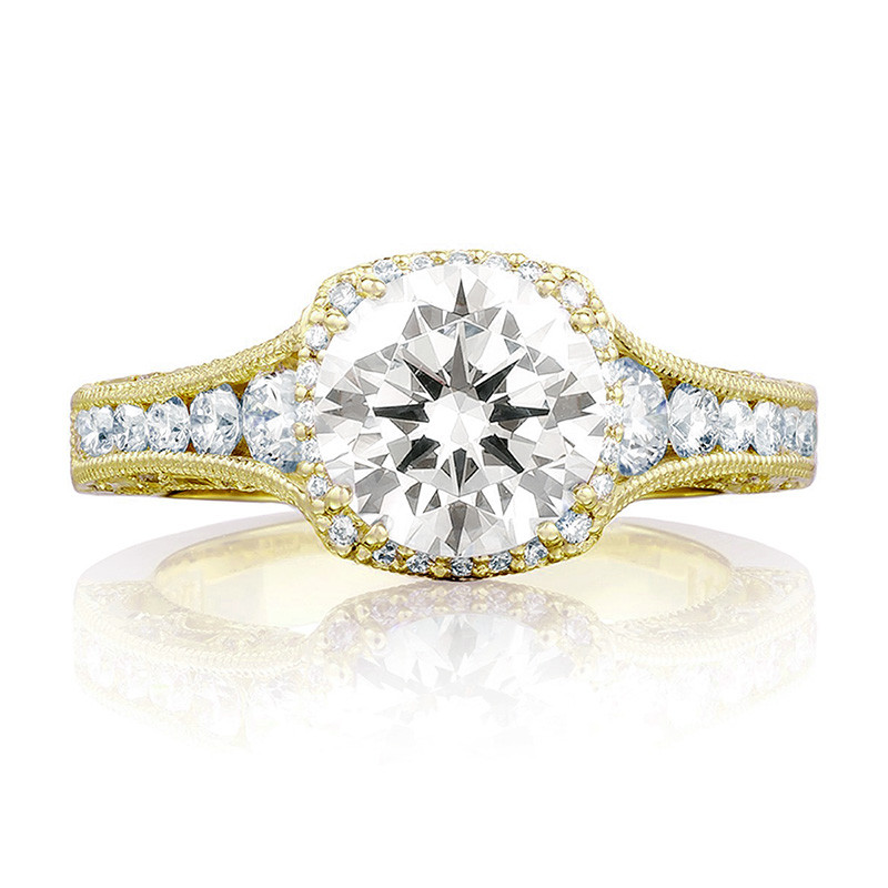 Tacori HT2515RD6-12X Tapered Yellow Gold Engagement Reverse Crescent Ring Top View