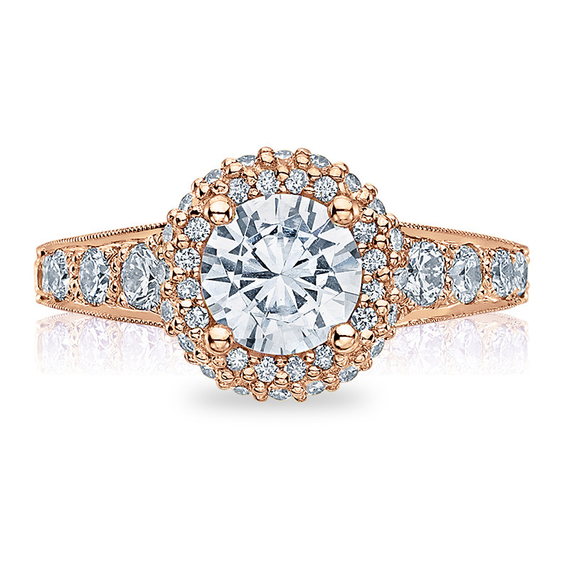 Tacori HT2516RD55-PK Rose Gold Tapered Engagement Blooming Beauties Ring Top View