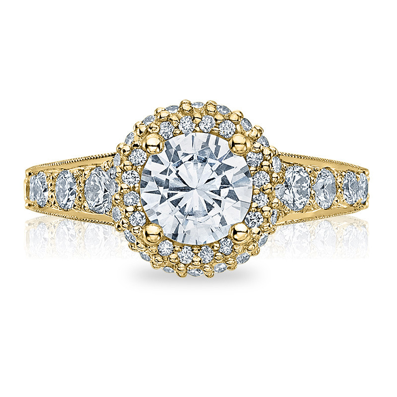Tacori HT2516RD6-Y Yellow Gold Tapered Engagement Blooming Beauties Ring Top View