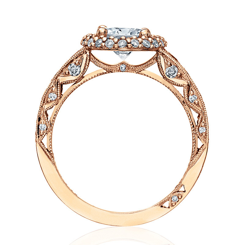 Tacori HT2516RD65-PK Rose Gold Tapered Engagement Blooming Beauties Ring Edge View