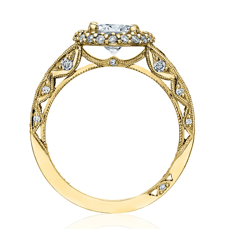 Tacori HT2516RD55-Y Yellow Gold Tapered Engagement Blooming Beauties Ring Edge View