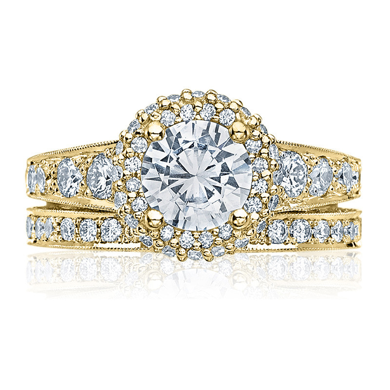 Tacori HT2516RD65-Y Yellow Gold Tapered Engagement Blooming Beauties Ring with Band