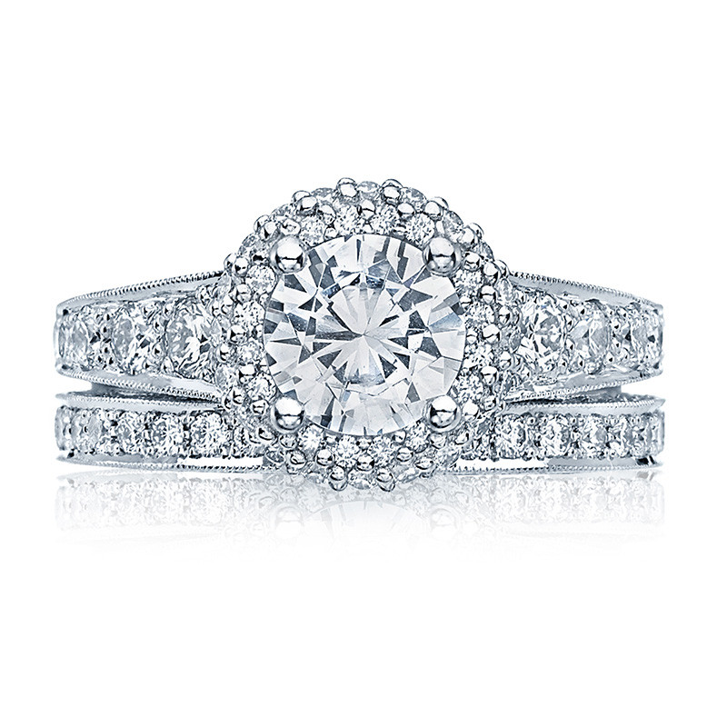 Tacori HT2516RD7-W White Gold Tapered Engagement Blooming Beauties Ring with Band