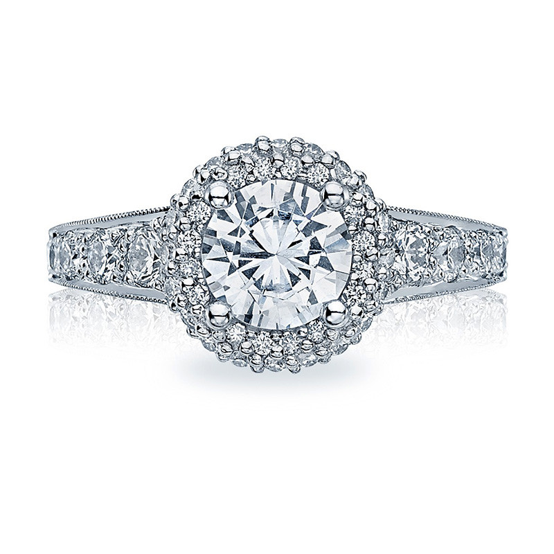 Tacori HT2516RD65-W White Gold Tapered Engagement Blooming Beauties Ring Top View