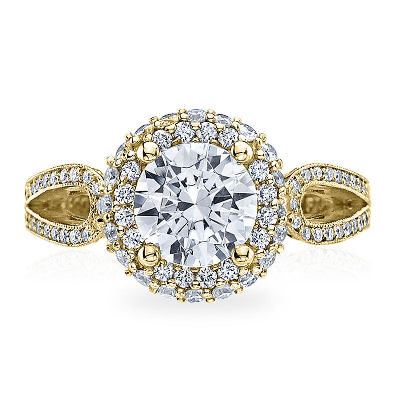 Tacori HT2518RD5-Y Yellow Gold Loop Shank Engagement Blooming Beauties Ring Top View