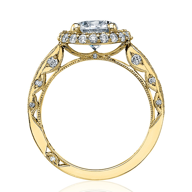 Tacori HT2518RD7-Y Yellow Gold Loop Shank Engagement Blooming Beauties Ring Edge View