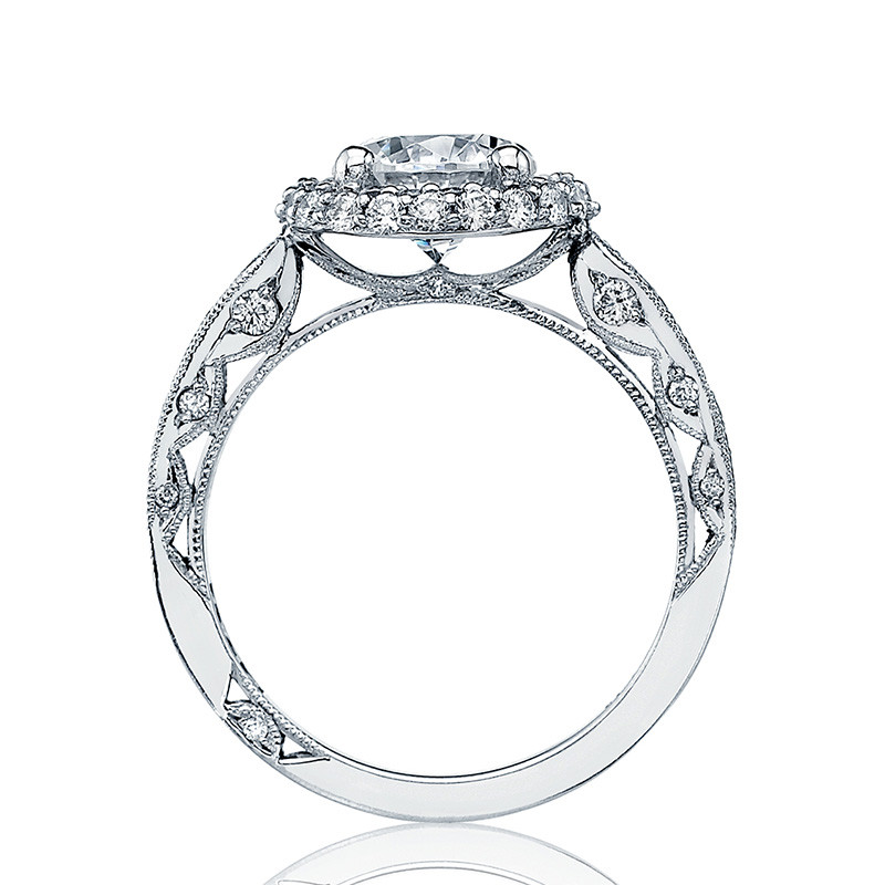 Tacori HT2518RD7-W White Gold Loop Shank Engagement Blooming Beauties Ring Edge View